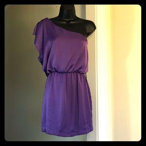 CITY TRIANGLES sz S purple one shoulder dress